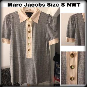 Marc Jacobs vintage puff sleeve grey collar top S